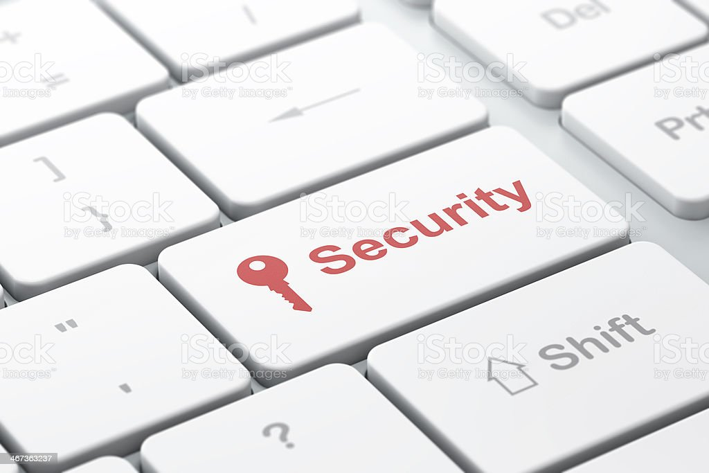 Safety concept: Key and Security on computer keyboard background royalty-free stock photo