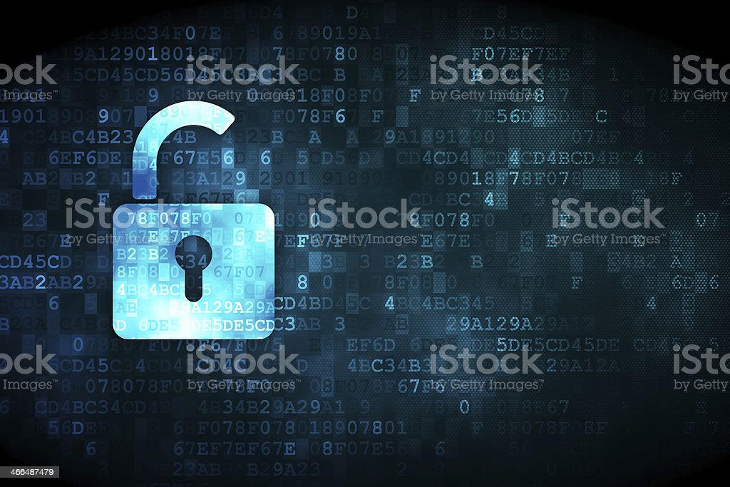 Safety concept: Opened Padlock on digital background stock photo