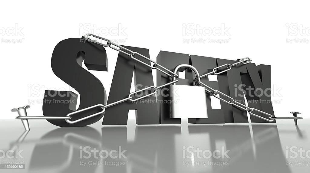 Safety concept, security padlock and chain stock photo