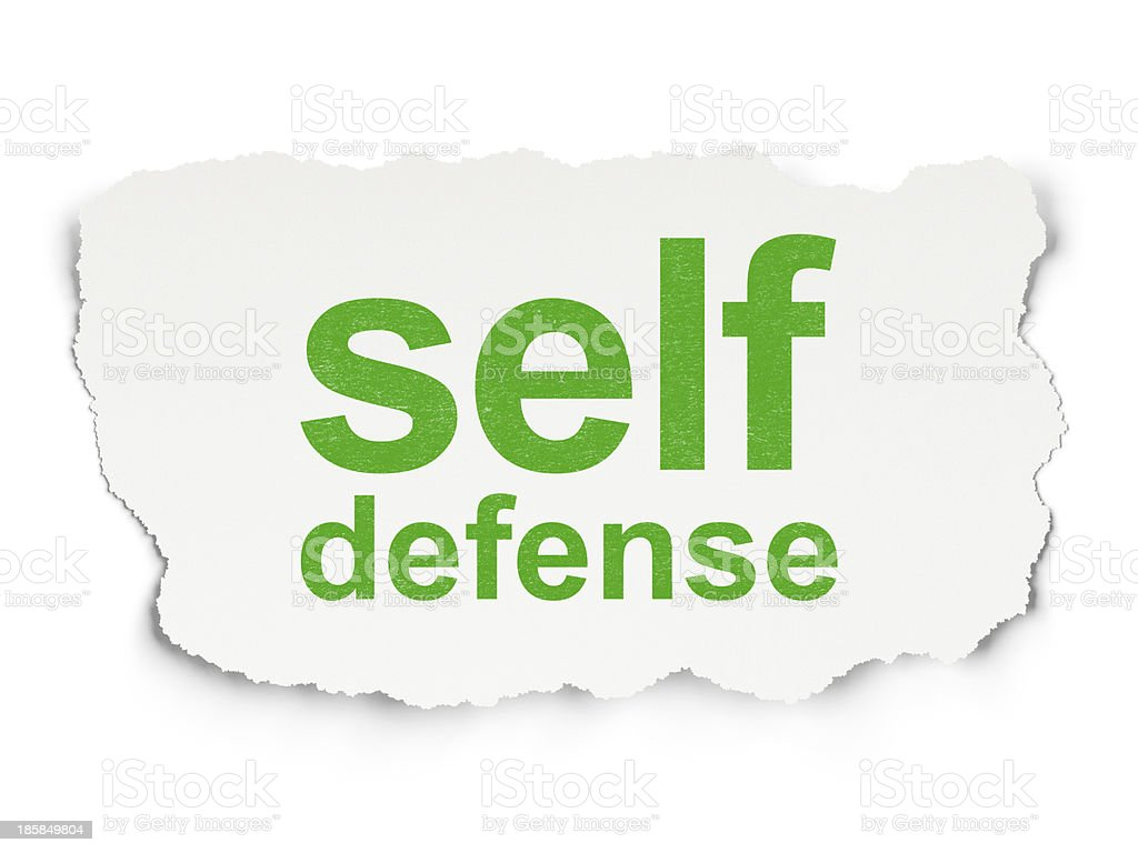 Safety concept: Self Defense on Paper background royalty-free stock photo