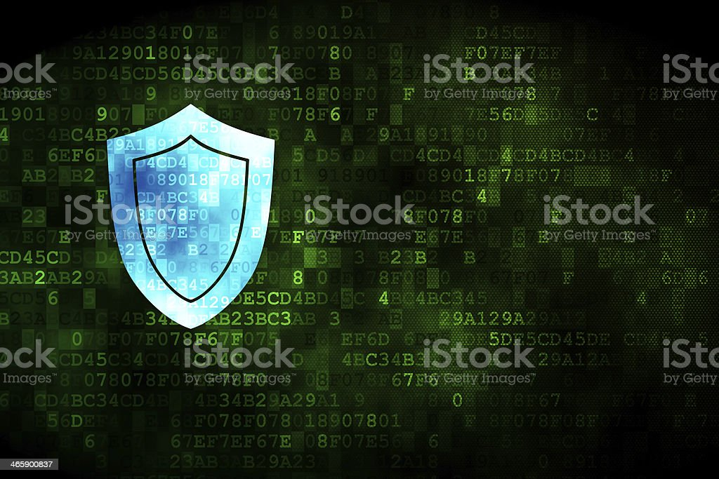 Safety concept: Shield on digital background stock photo