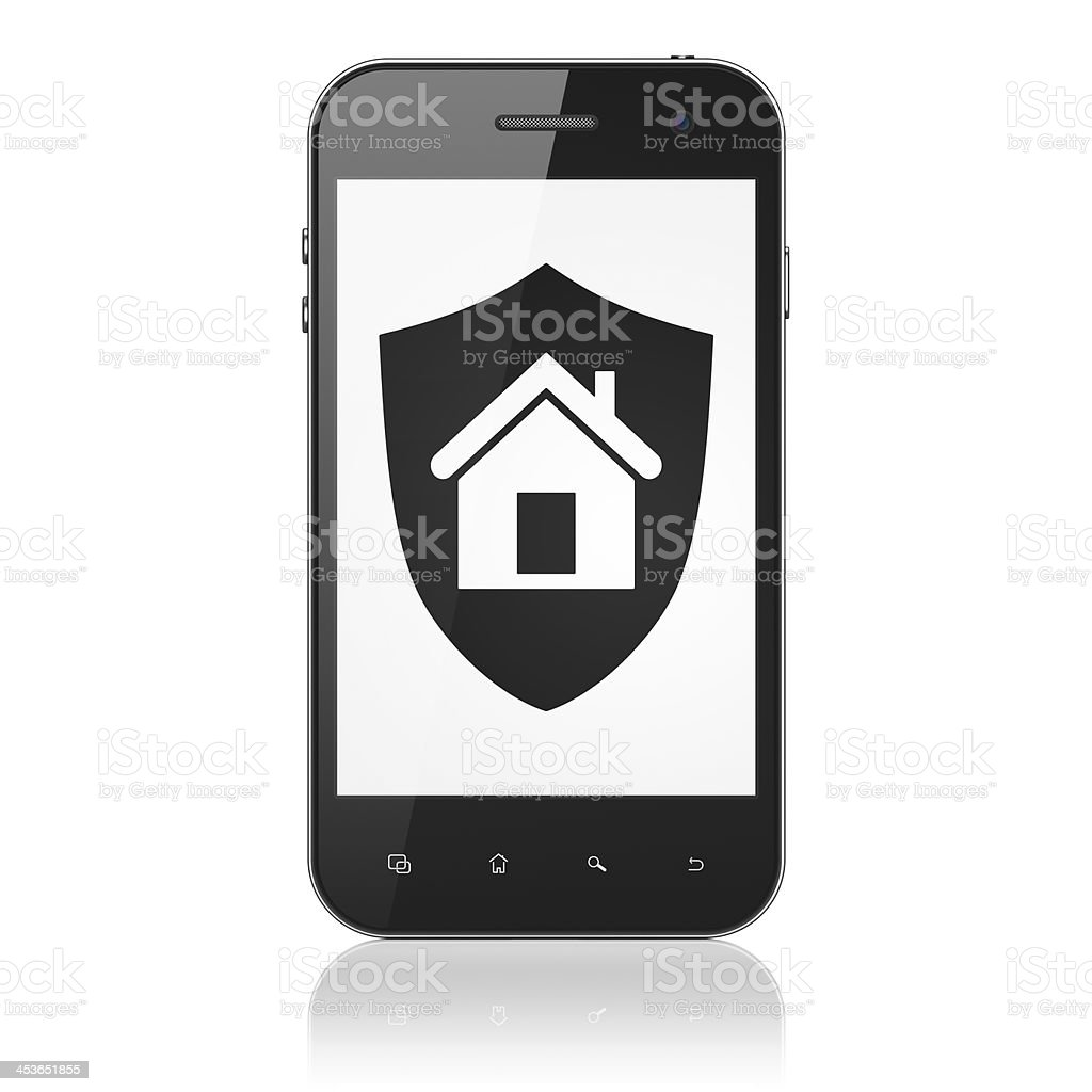 Safety concept: Shield on smartphone stock photo