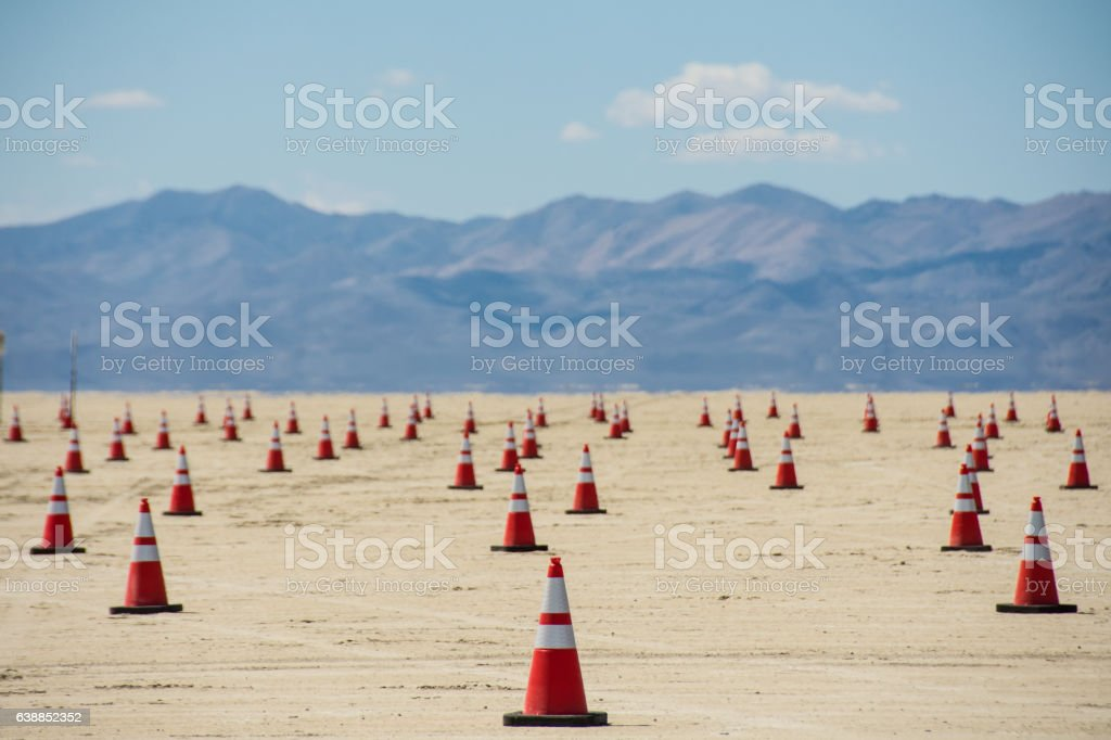 Safety Cones with Mountains in Background stock photo