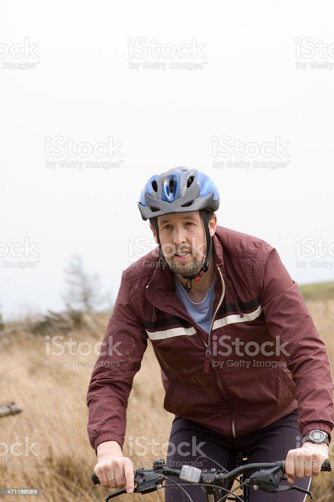 Safety conscious mountain biker royalty-free stock photo