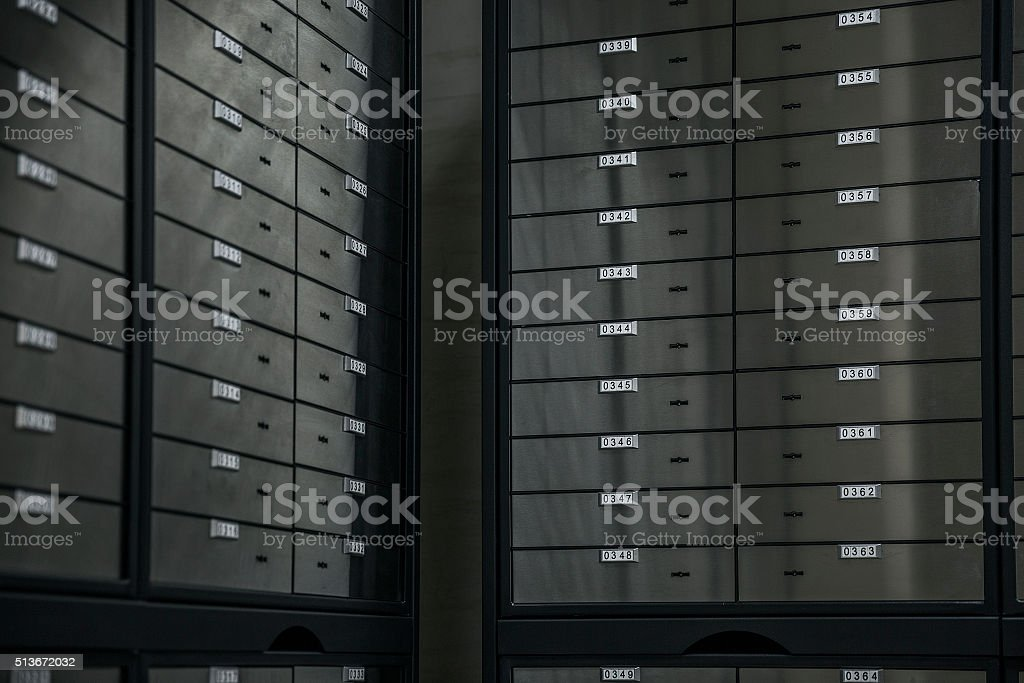 Safety Deposit Box with safe lockers stock photo