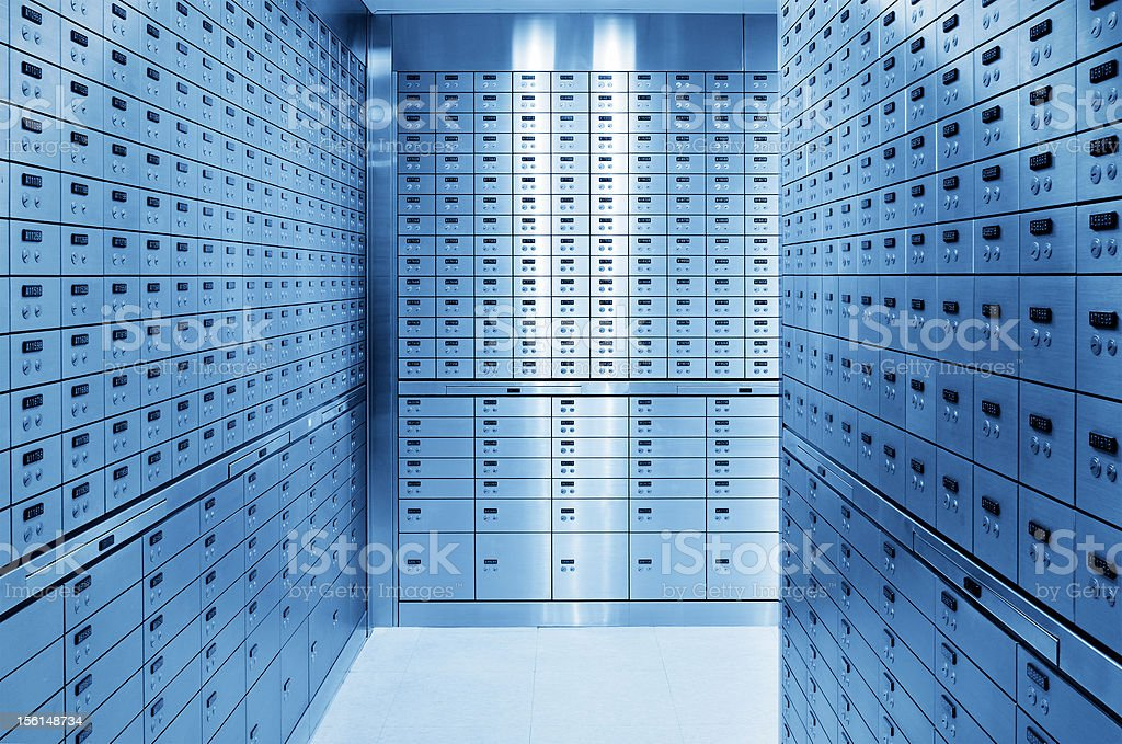 Safety Deposit Boxes in Safe Bank stock photo