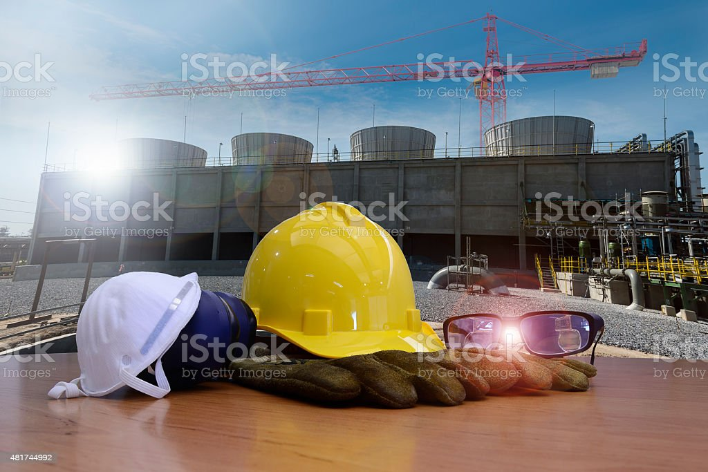 safety equipment for work outdoor at utility construction site stock photo