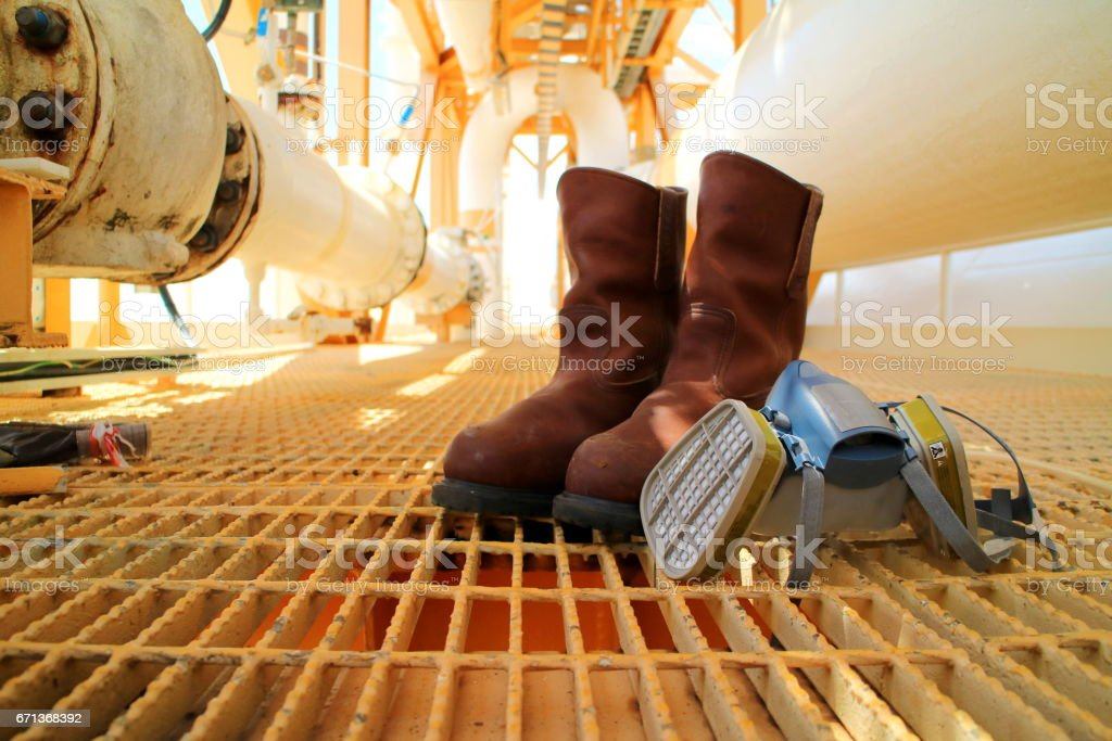 Safety equipment, goggle, safety boots or shoes,half mask for oil and gas industry. stock photo