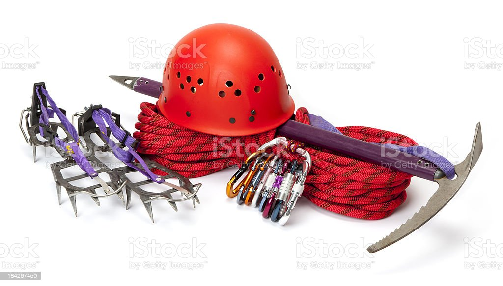 Safety Equipments for climbing stock photo