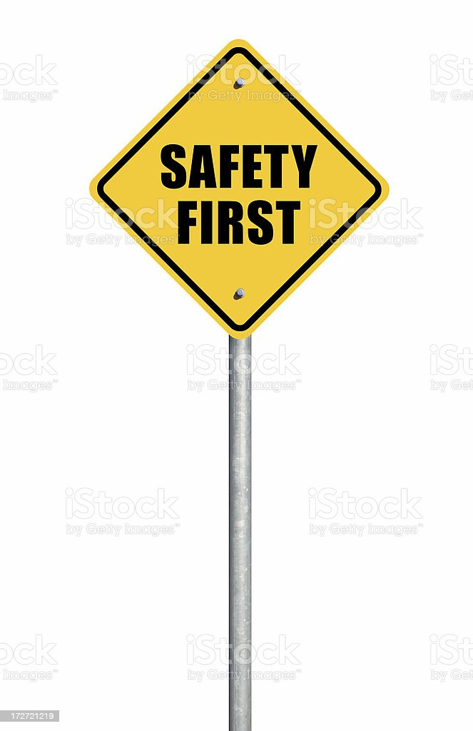 Safety First Road Sign royalty-free stock photo