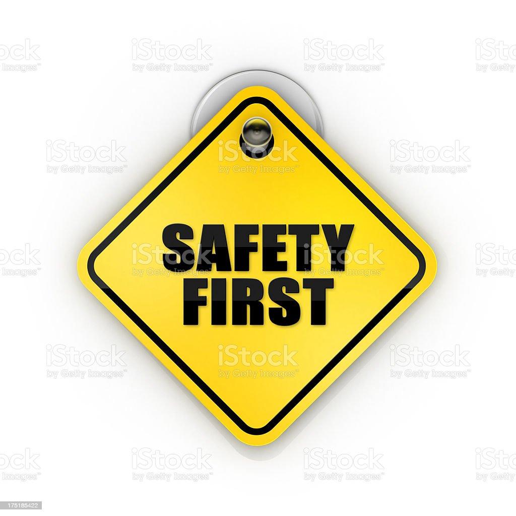 Safety First Sticky Sign stock photo