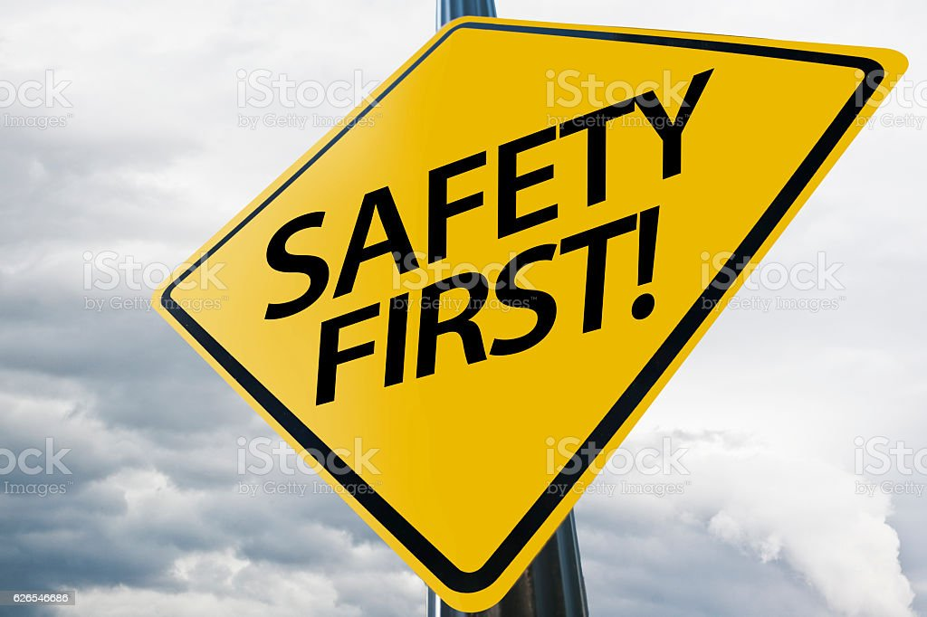 Safety First / Warning sign (Click for more) stock photo