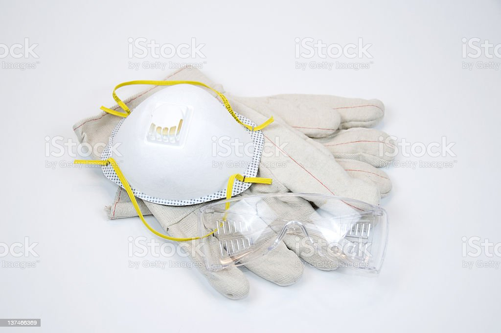 SAfety Gear: Gloves, Goggle, Dust Mask stock photo
