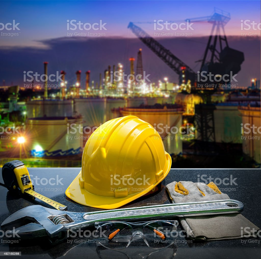 Safety gear kit and tools stock photo