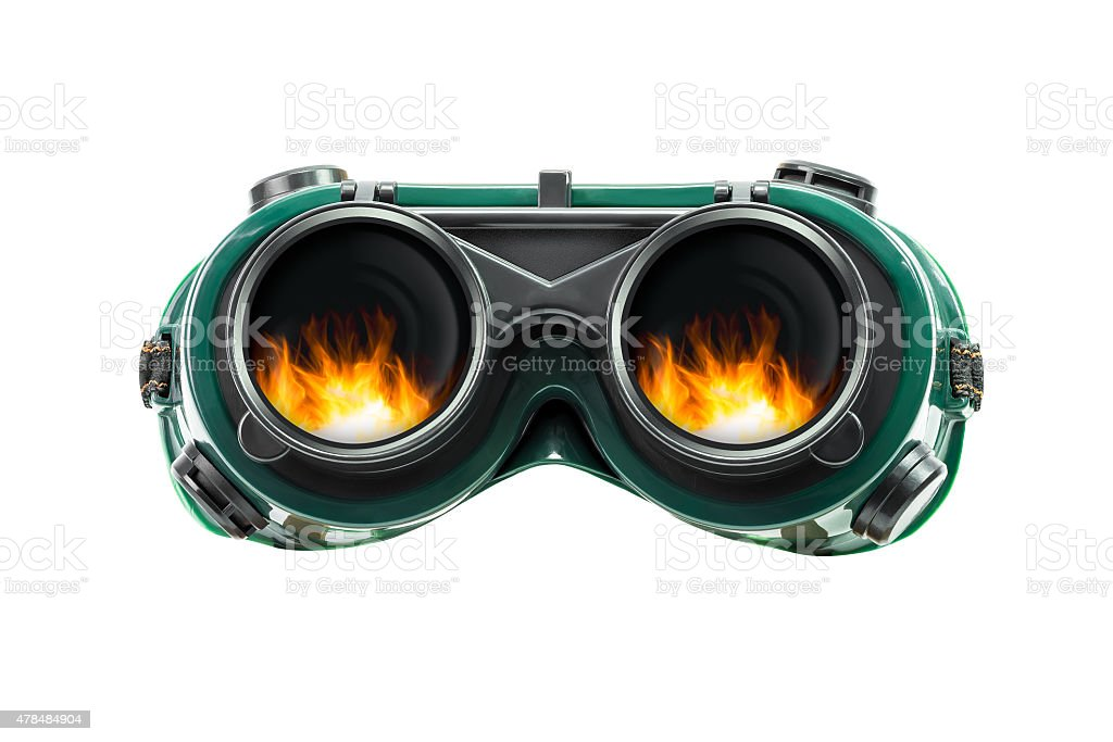 Safety glasses and fire reflect stock photo