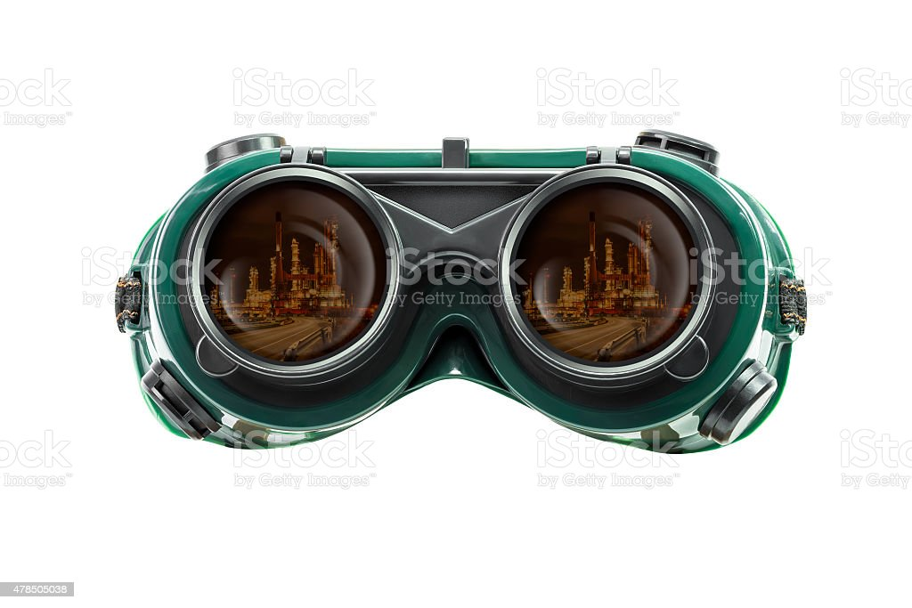 Safety glasses and industrial reflect stock photo