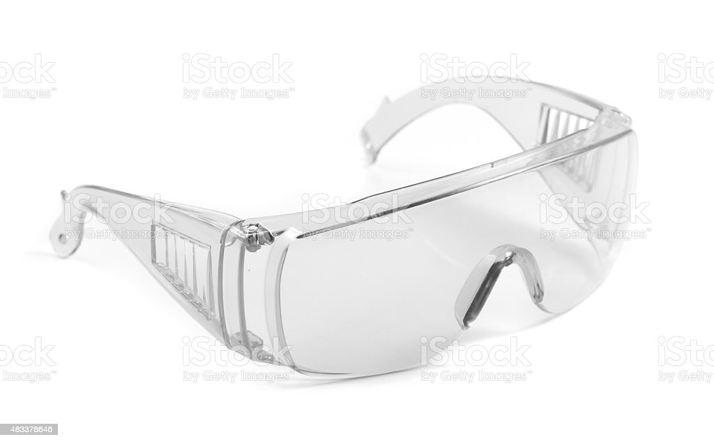 safety glasses isolated on white stock photo