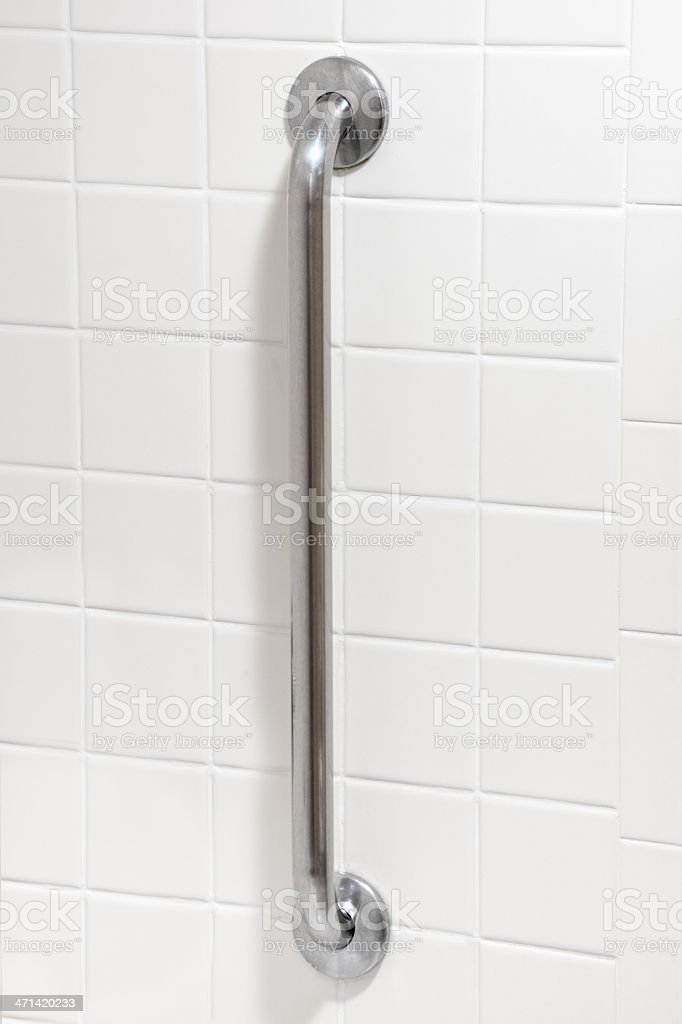 Safety Grab Bar in Handicapped Bathroom stock photo