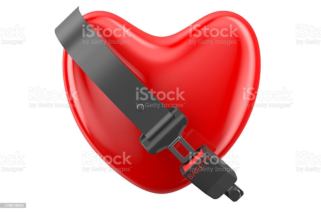safety heart concept, heart with safety belt stock photo
