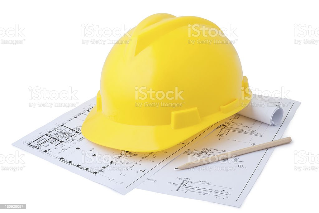 Safety helmet and drawings royalty-free stock photo