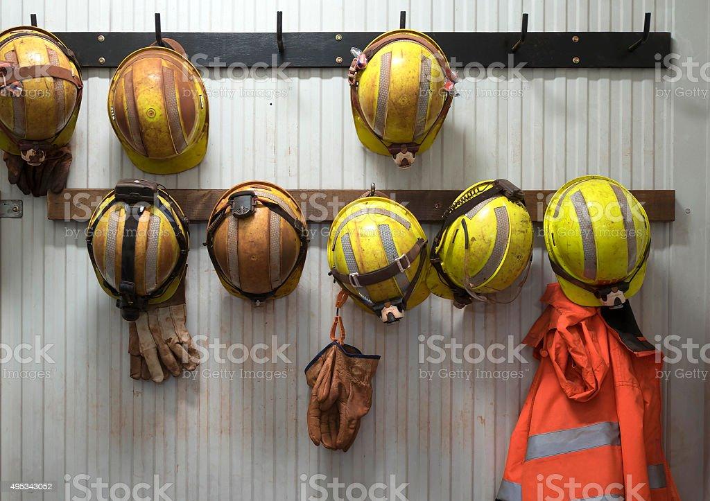 Safety helmets stock photo