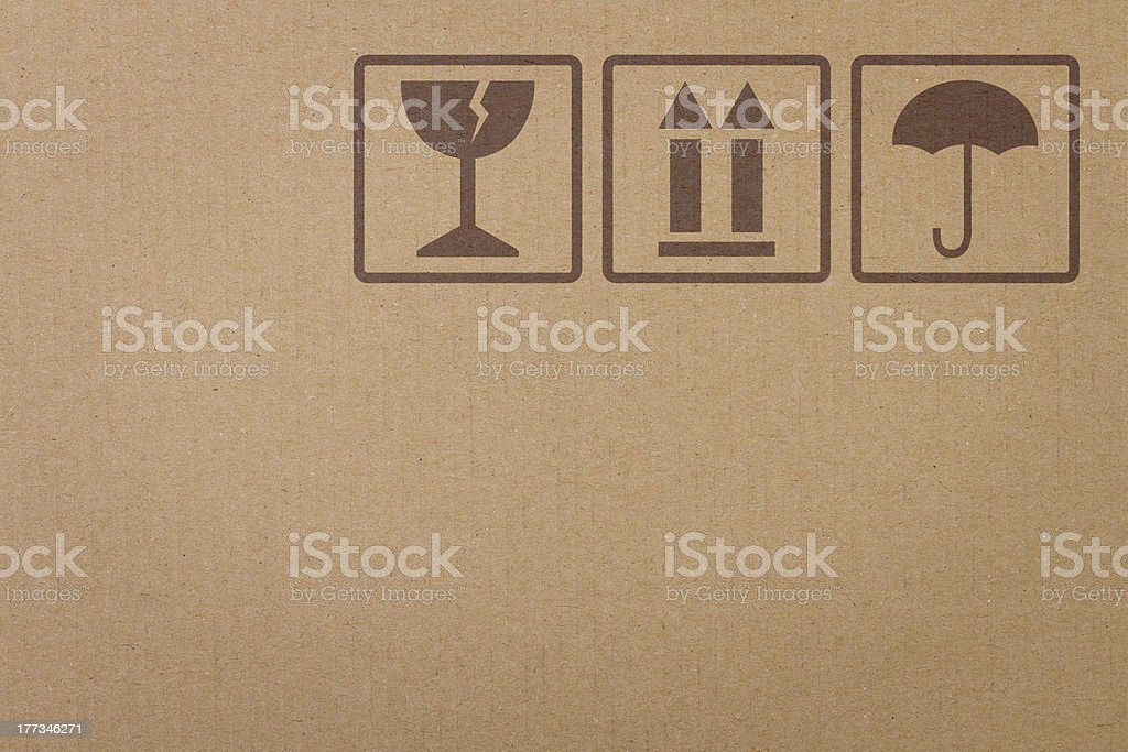 Safety icons on a cardboard box royalty-free stock photo