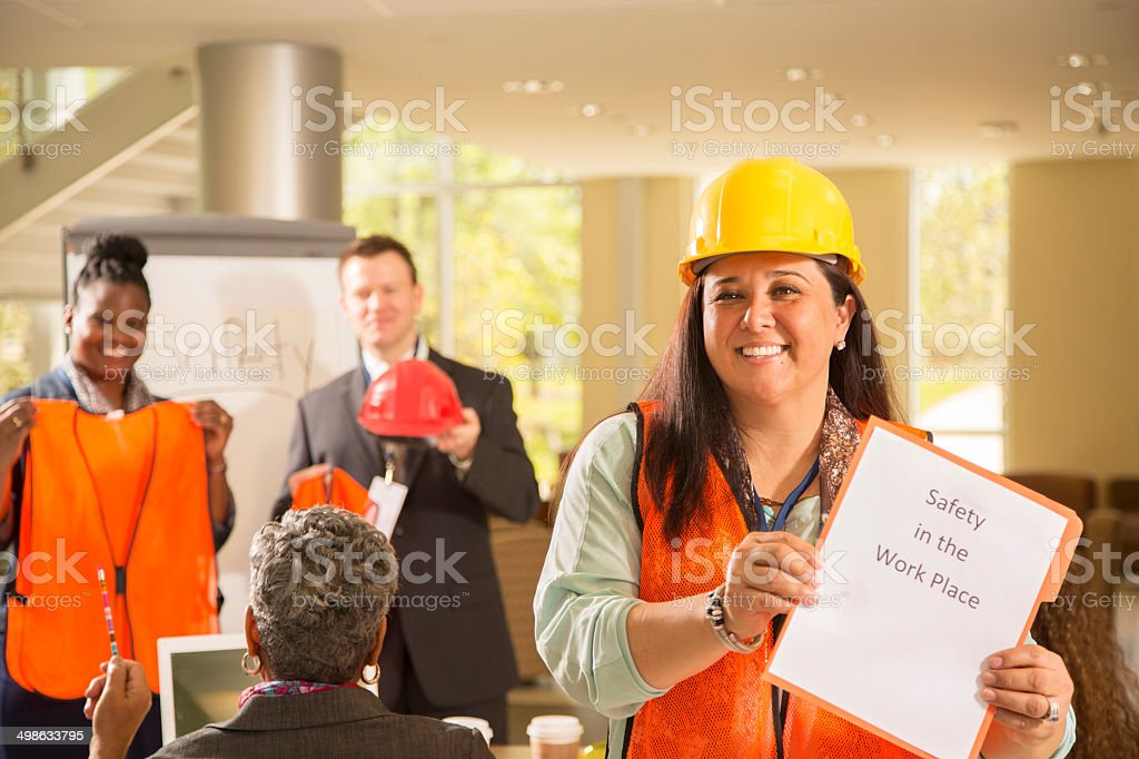 Safety in the workplace. Presentation to construction workers. stock photo