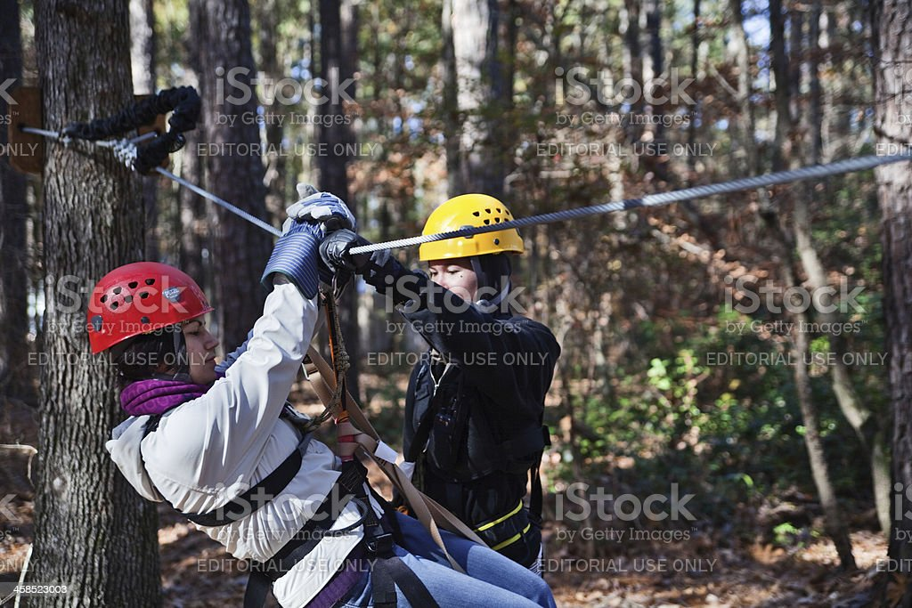 Safety instructions for zipline adventure stock photo