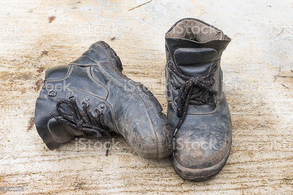 Safety leather shoe stock photo