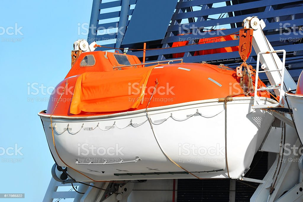 Safety lifeboat on ship deck stock photo