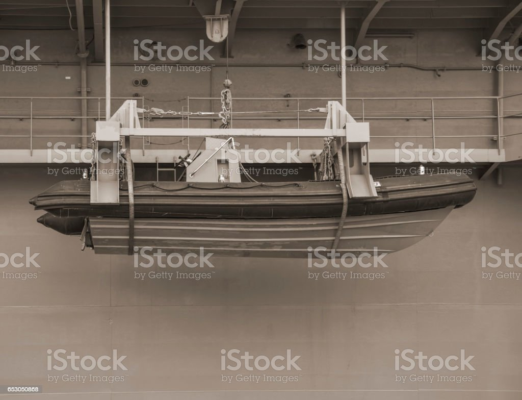Safety lifeboat on ship stock photo