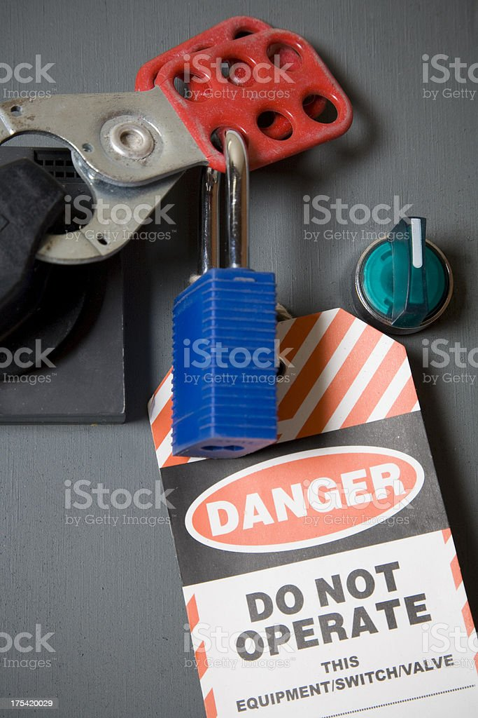 Safety Lock and Tag stock photo