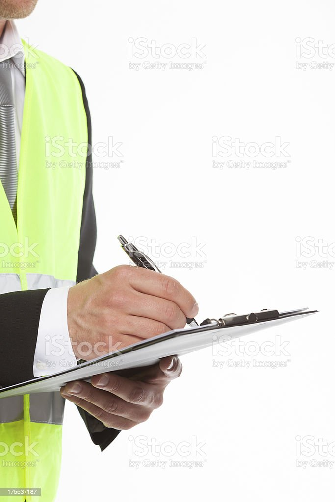 Safety man with note pad royalty-free stock photo