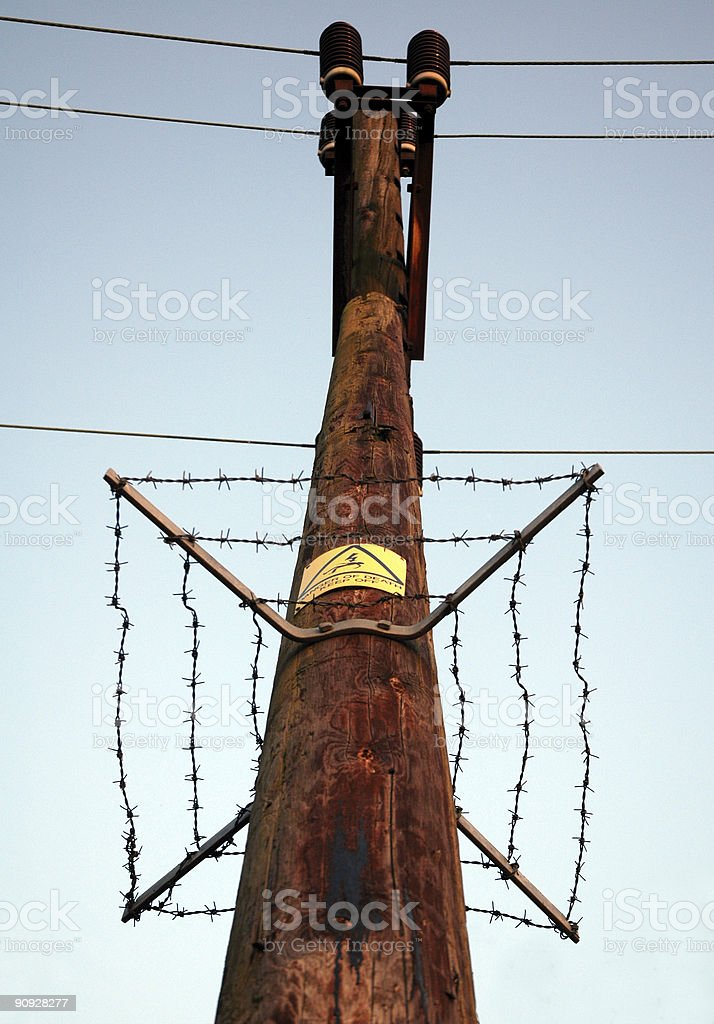 Safety Measures on a Power Line stock photo