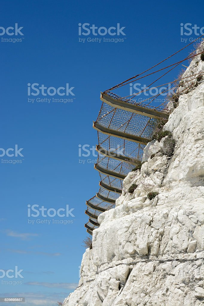 Safety netting for rock falls. Brighton. England stock photo
