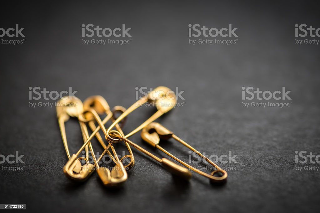 Safety pin. stock photo