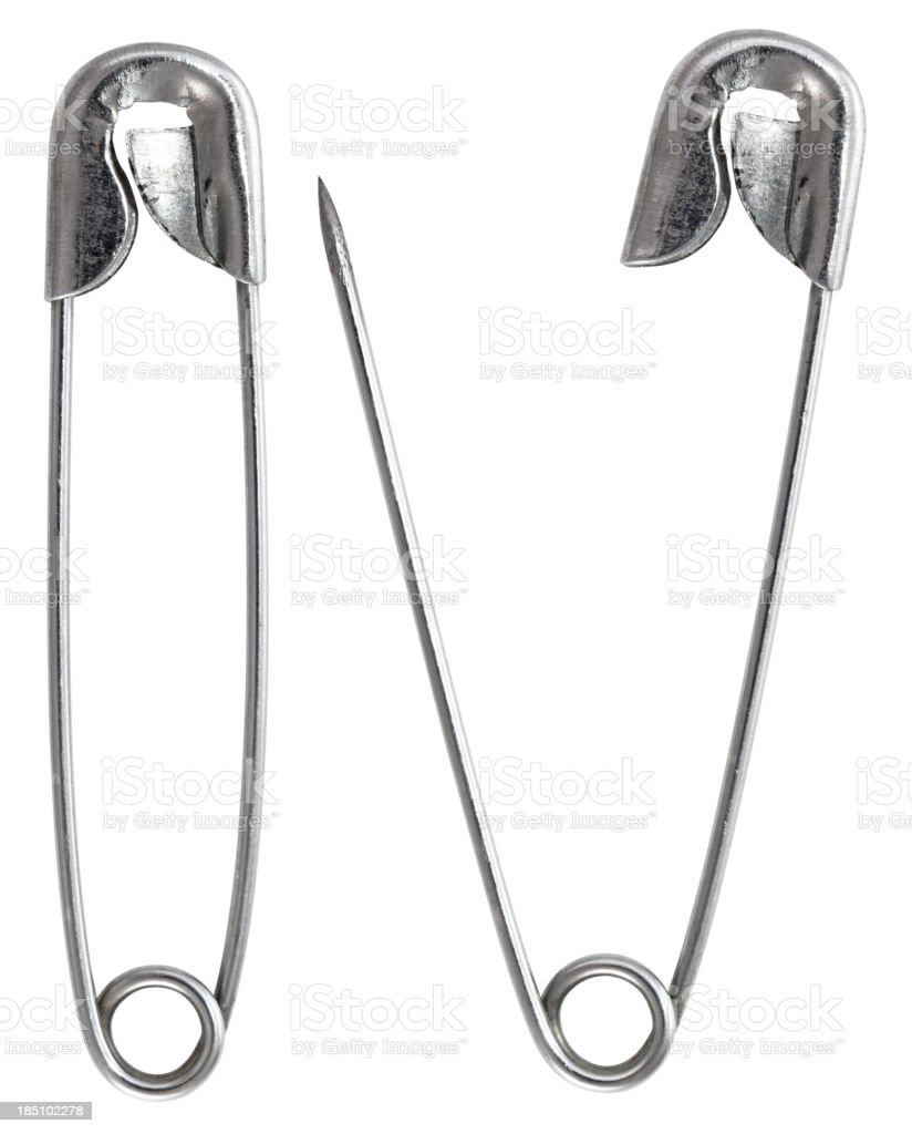 Safety Pin with clipping path on white background royalty-free stock photo