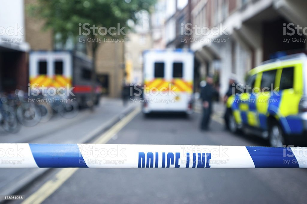 Safety police line tape on crime scene stock photo