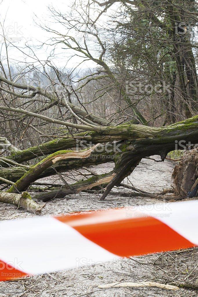 Safety ribbon on damaged road stock photo
