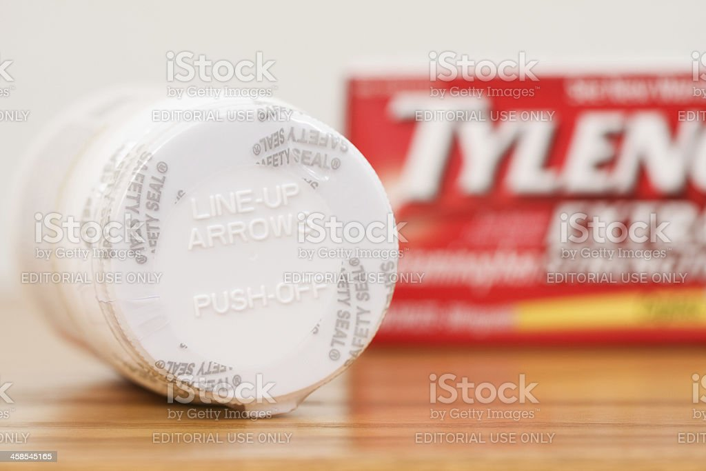 Safety Seal and Opening Instructions on Tylenol Bottle stock photo