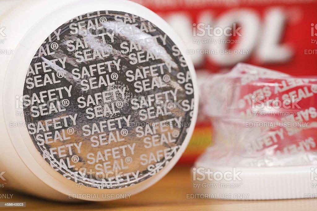 Safety Seal on Tylenol Bottle stock photo
