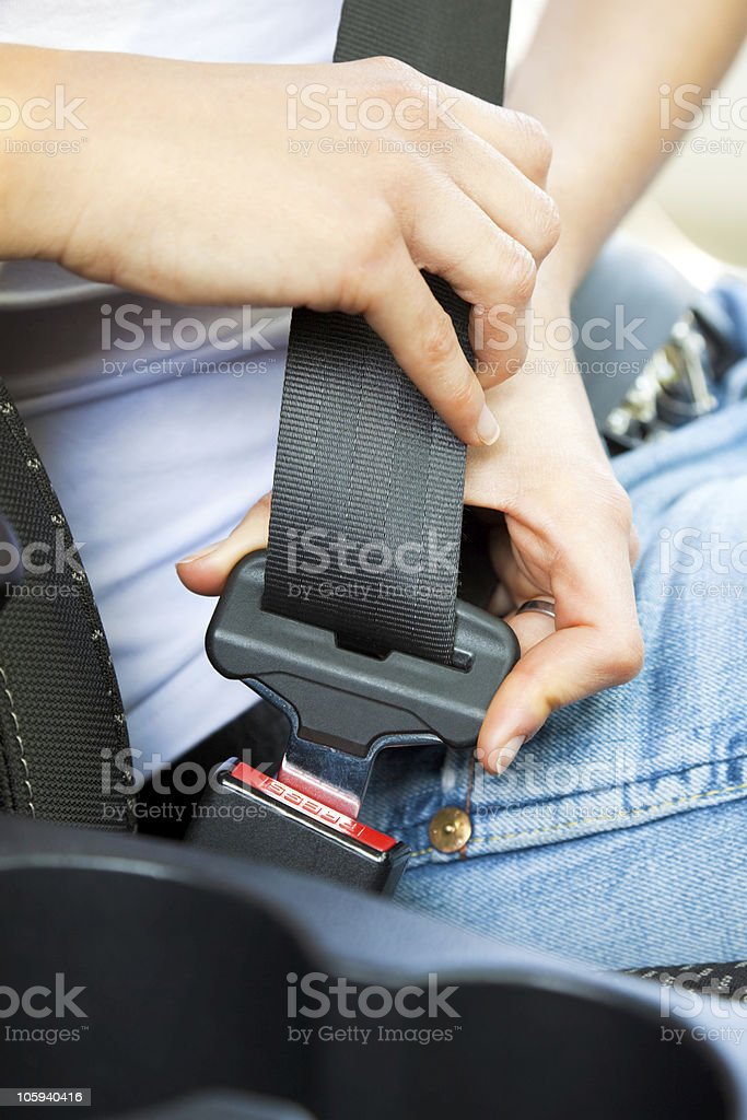 Safety seatbelt in the car seat stock photo