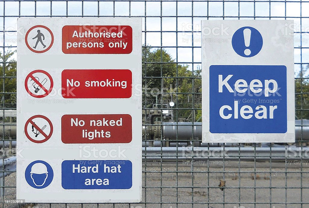 Safety Signs Gas Installation royalty-free stock photo