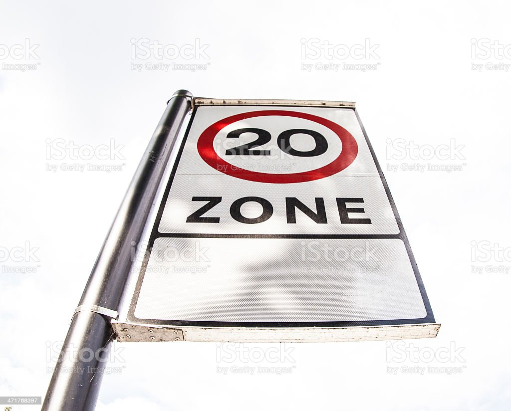 safety speed zone 20 miles per hour royalty-free stock photo