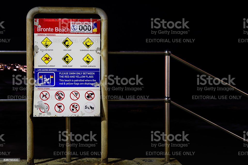 Safety warning signboard at Bronte Beach, Sydney, Australia stock photo