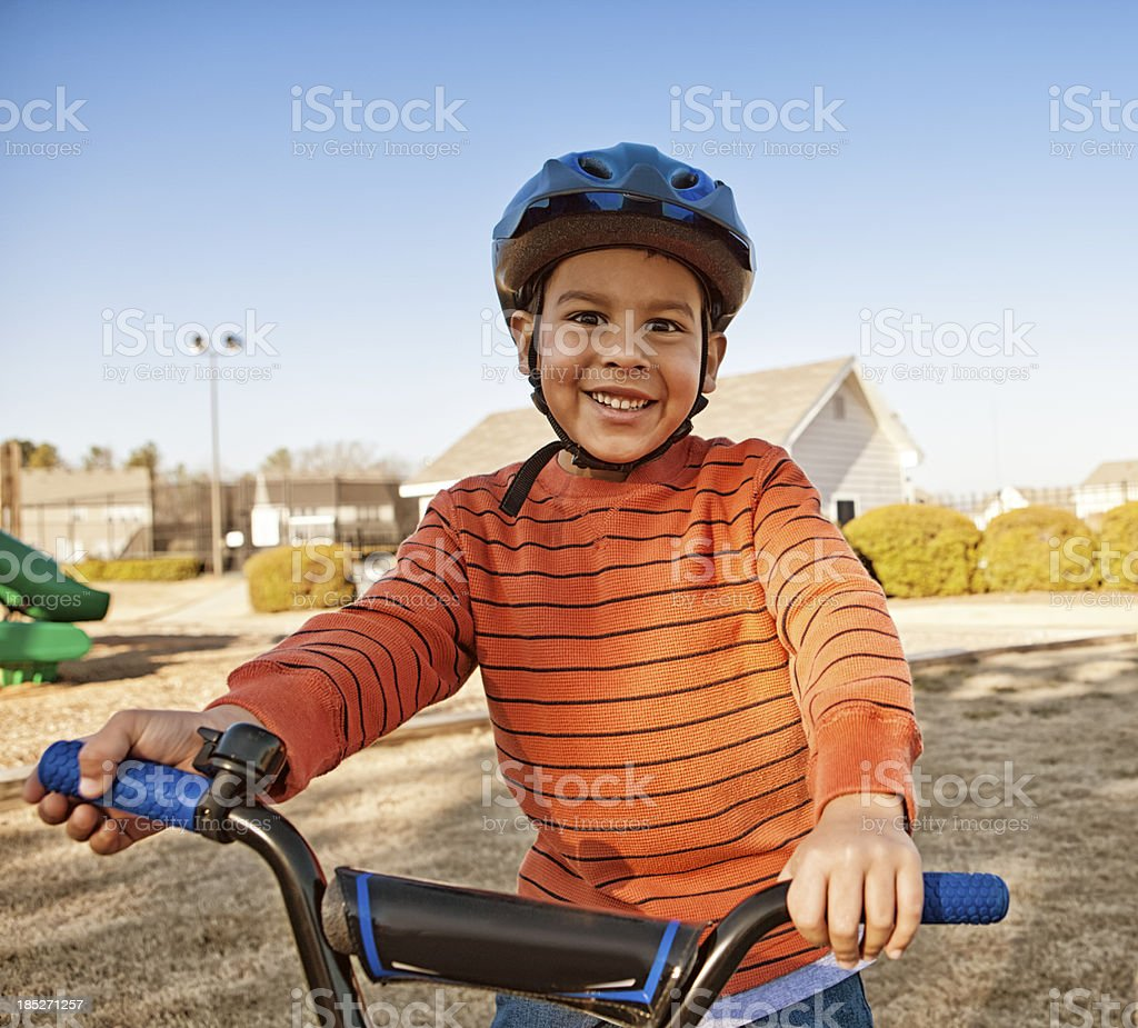 safety while riding bike royalty-free stock photo
