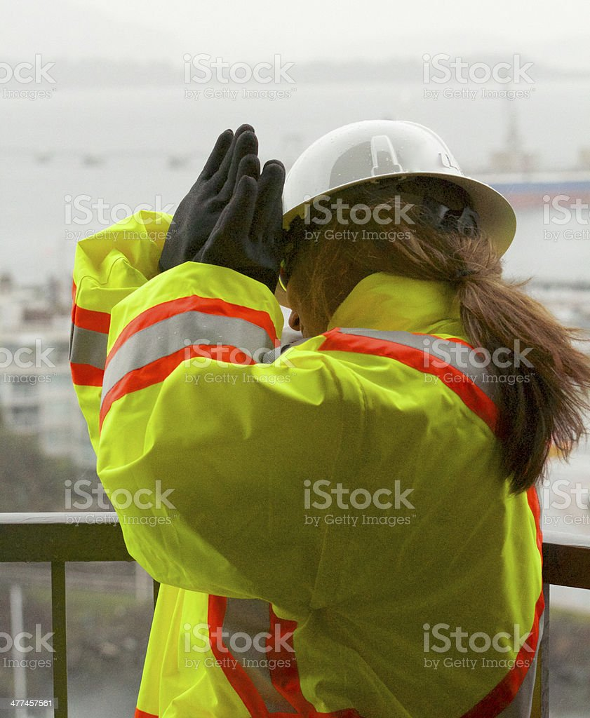 Safety Worker in Danger stock photo