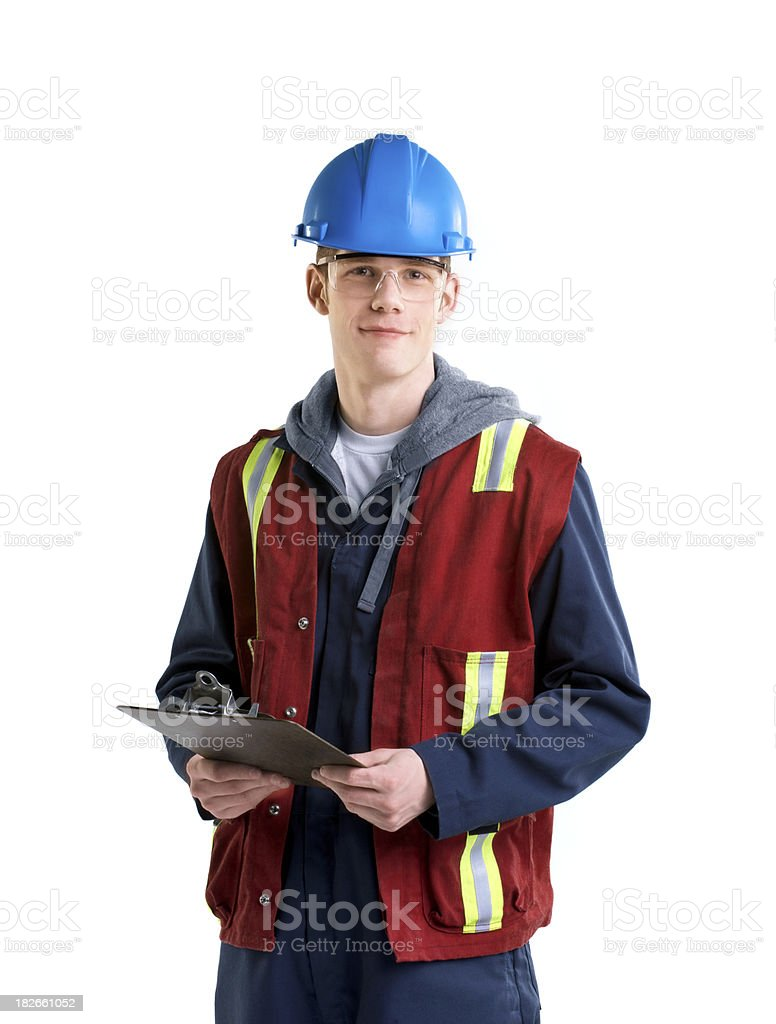 Safety worker with clipboard on white royalty-free stock photo
