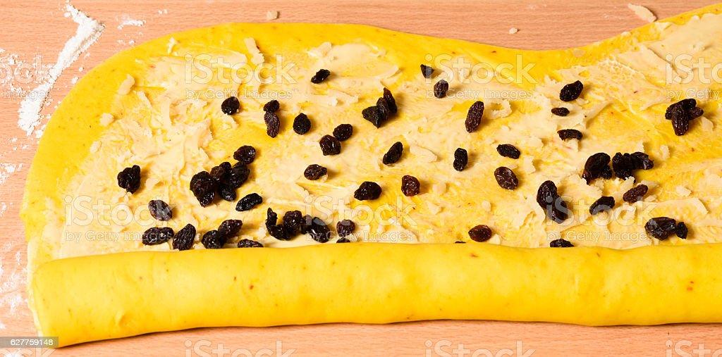 Saffron bun dough stock photo