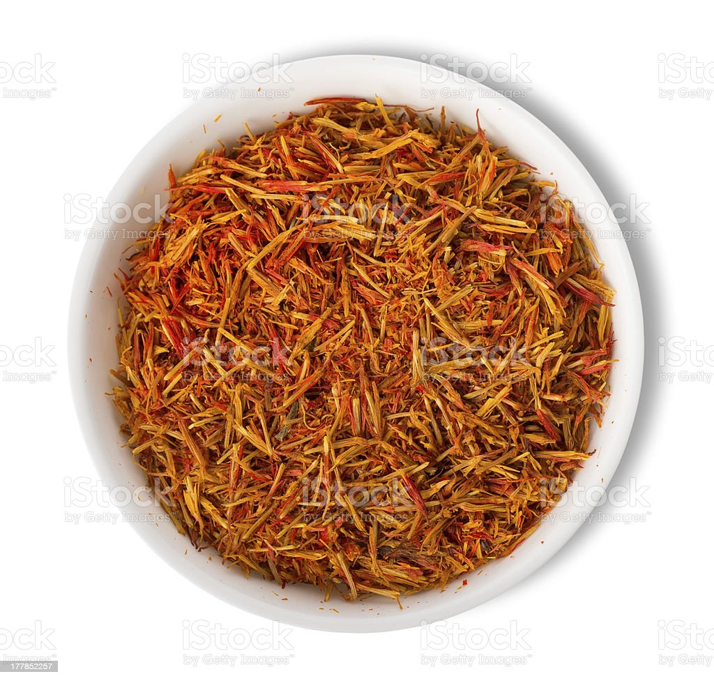 Saffron in plate isolated royalty-free stock photo